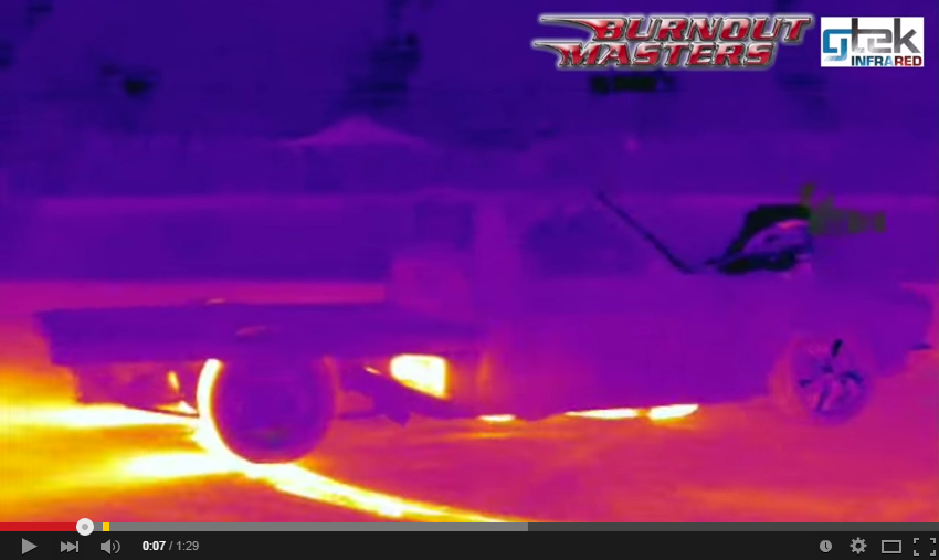 This is what  a burnout looks like filmed with thermal camera. It's Epic