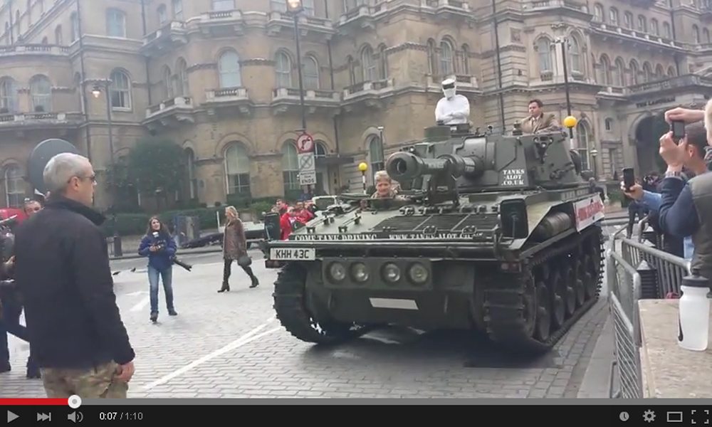 A Man Driving A Tank (Yes, Tank) in London Asked BBC To Reinstate Jeremy Clarkson
