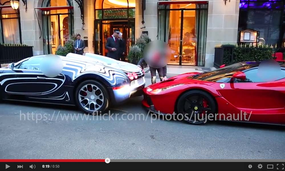 The Bugatti Veyron L'Or Blanc Hitting The Ferrari LaFerrari On A Parking Lot Is Almost Surreal