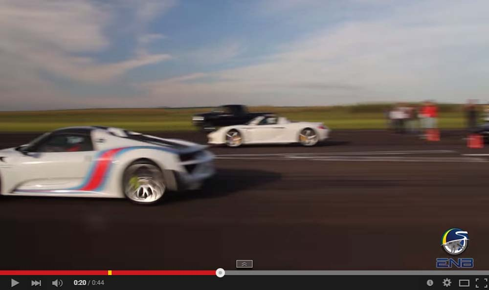 An Amazing Drag Race Between The Carrera GT And The Newest 918 Spyder