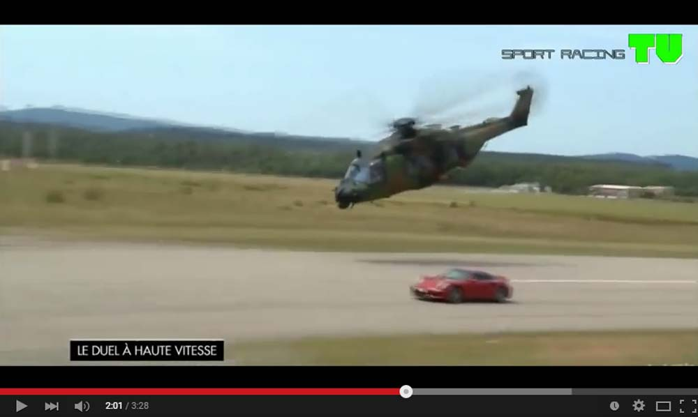 French Drag Race Military Helicopters Against The Porsche 911 Turbo S