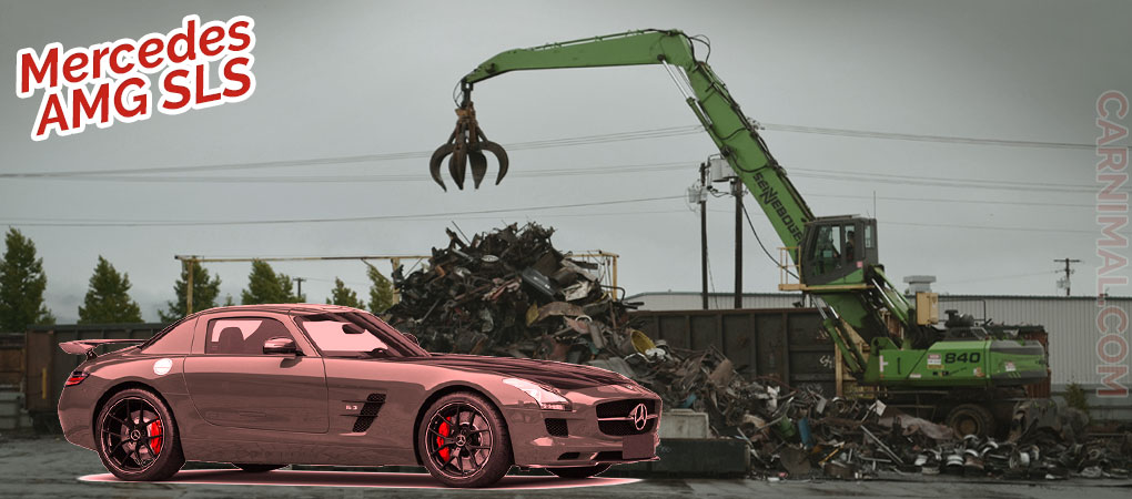 A Mercedes-Benz AMG SLS In Mint Condition Destroyed On A Scrapping Yard