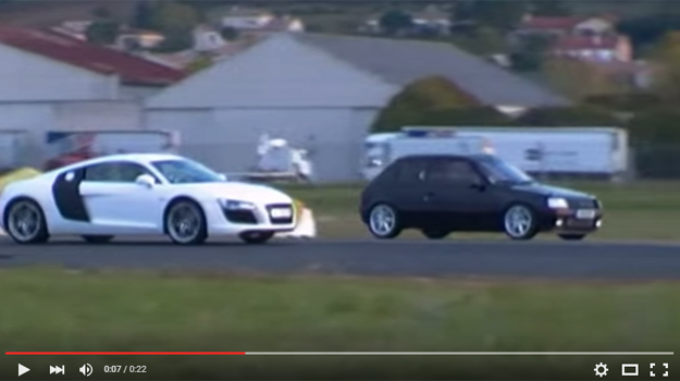 An Audi R8 Smoked By A '89 Small French Peugeot 205 In A Drag Race