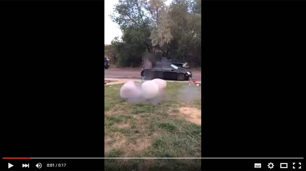 Idiots Playing With An Airbag And Using It As A Launch System For A Wheel Almost Made A Mess