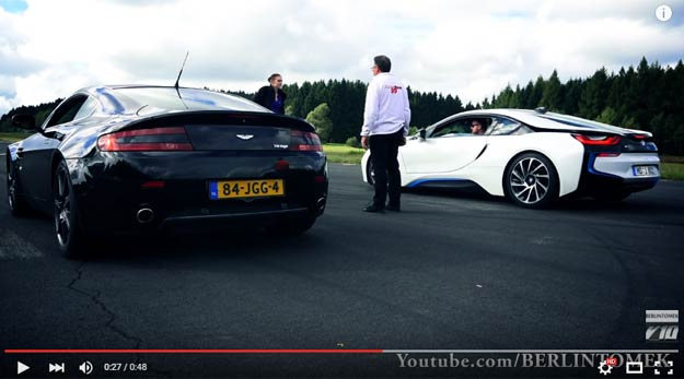 A Three Cylinder Powered BMW i8 Races Against An Aston Martin V8 Vantage