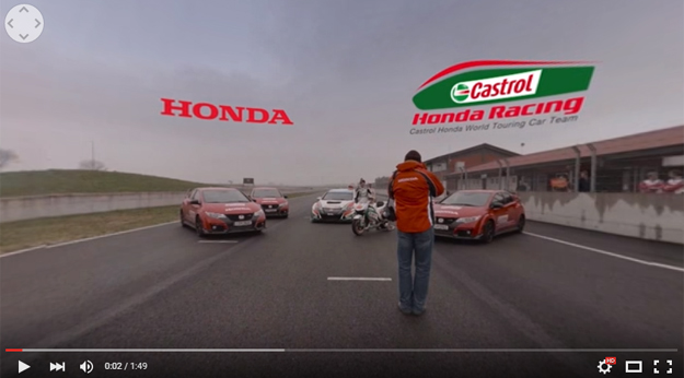 Honda 360-Degree Video Features A Race Between Civic Type R, Civic Touring car and the MotoGP Honda