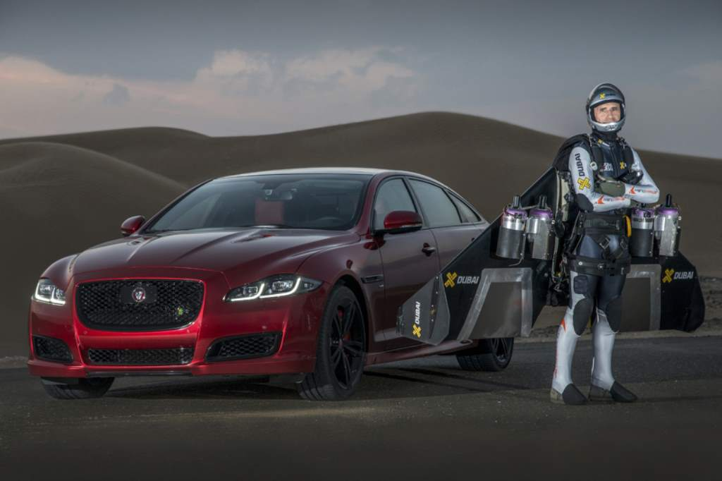 Jaguar Just Raced Its 550hp XJR With A Jetman In Dubai