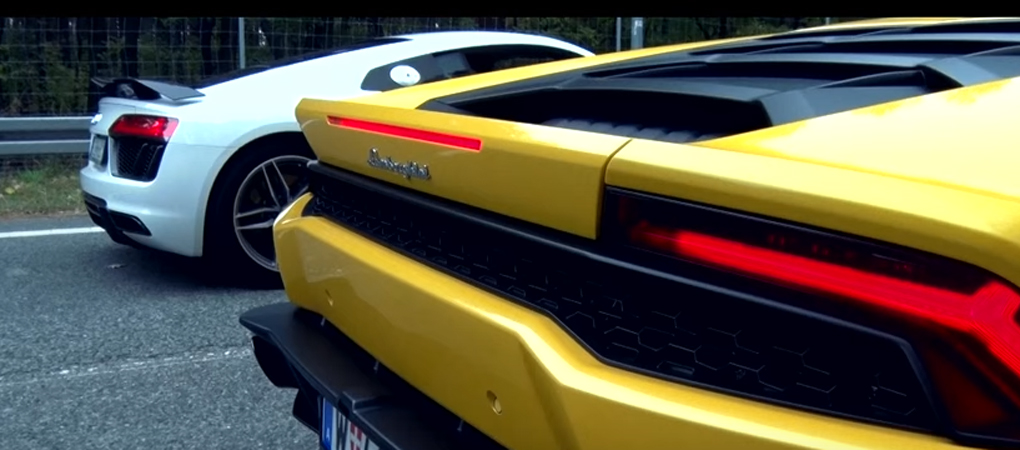 Lambo Huracan And Audi R8 V10 Plus In A Race With An Incredible Result