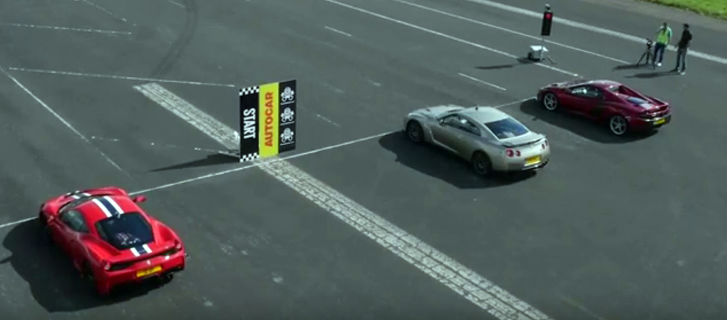 Nissan GT-R Races Ferrari 458 Speciale And McLaren 650S On An Airfield