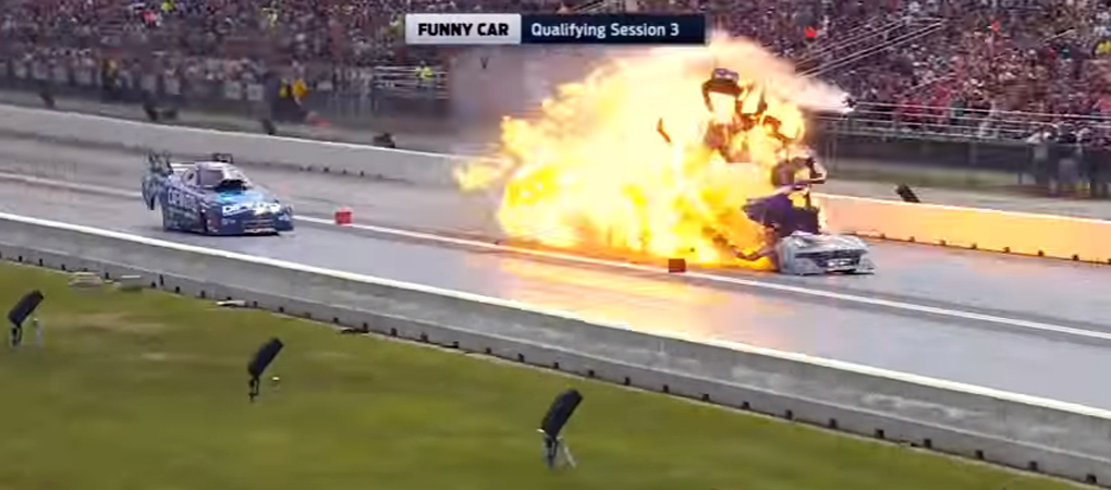 Funny Car Blew Up But The Driver Walked Away