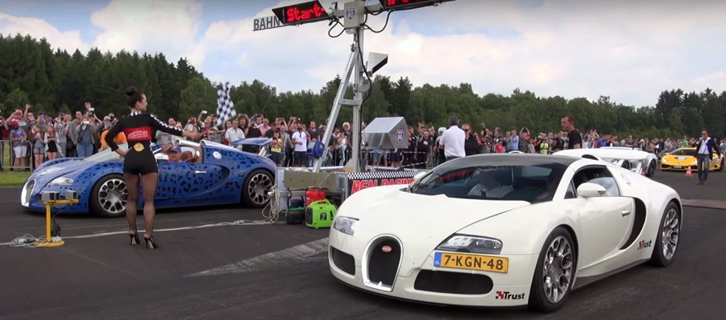 Two Almost Identical Bugatti Veyrons In Massive Drag Fight