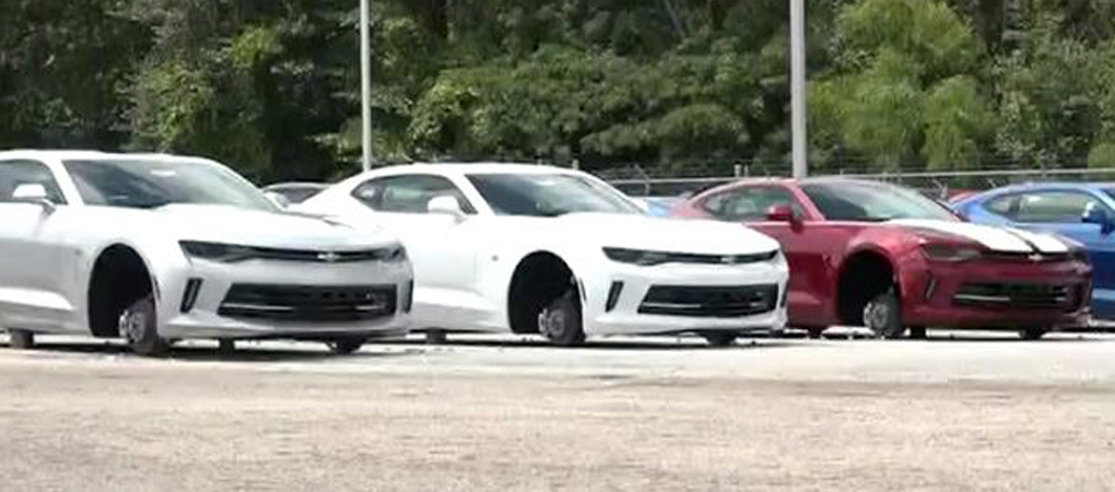 Thieves Stole 48 Sets Of Wheels And Tires From Cars Parked In Front Of A Dealership