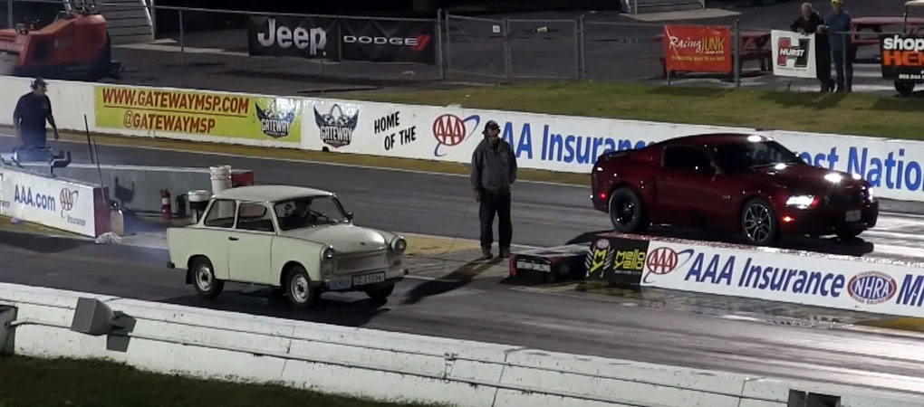 Communist Block Trabant Races A Mustang In This Mirror Universe Drag Race