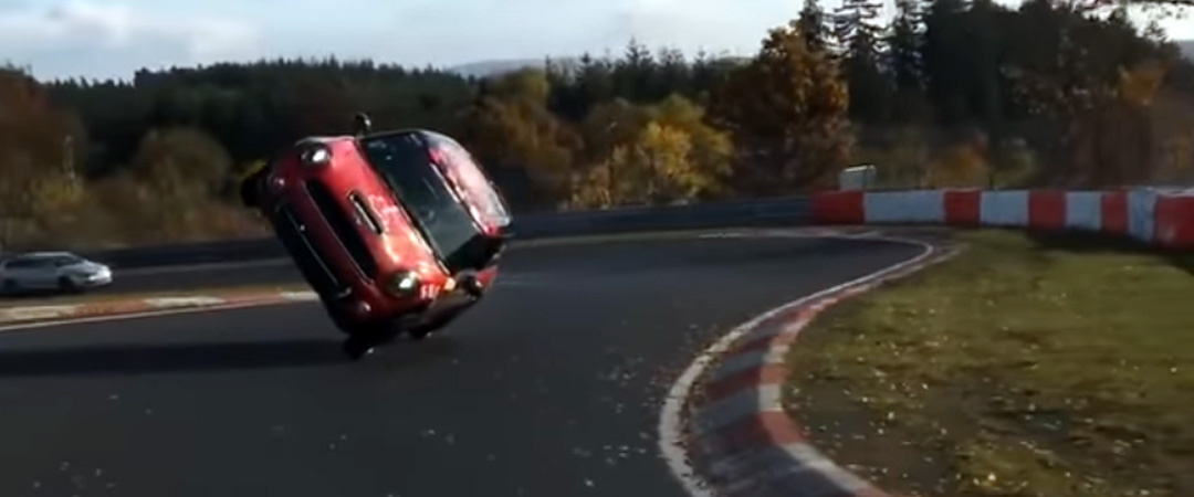 Mini Drives 13 Miles On Two Side Wheels At The Nurburgring